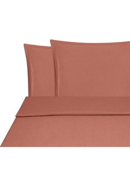 Set lenzuola in lino soffice Nature, 52% lino, 48% cotone Con effetto stonewash per una presa morbida, Terracotta, 240 x 300 cm