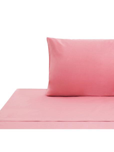 Set lenzuola in cotone ranforce Lenare, Tessuto: ranforce, Fronte e retro: rosa, 150 x 290 cm