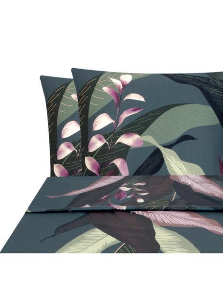 Set lenzuola in raso di cotone Flora, Tessuto: raso Densità del filo 210, Fronte: multicolore, 240 x 300 cm