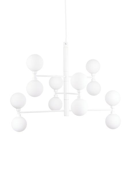 Lámpara de techo grande Grover, Anclaje: metal con pintura en polv, Estructura: metal con pintura en polv, Cable: cubierto en tela, Blanco, Ø 70 x Al 56 cm