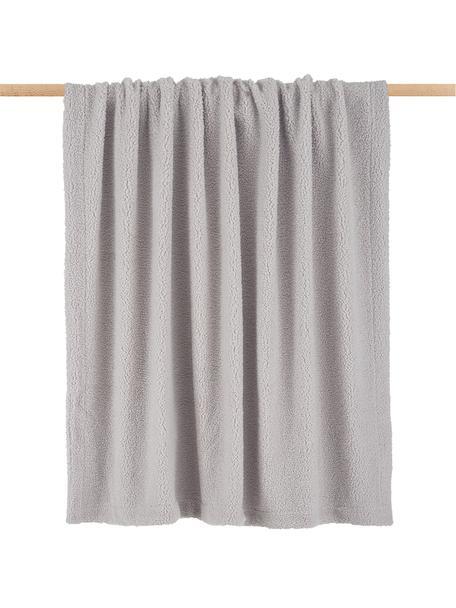 Teddy-Plaid Mille, Vorderseite: 100% Polyester (Teddyfell, Rückseite: 100% Polyester, Hellgrau, 150 x 200 cm
