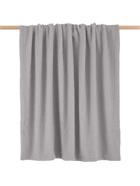 Plaid in teddy grigio chiaro Mille, Retro: 100% poliestere, Grigio chiaro, Larg. 150 x Lung. 200 cm