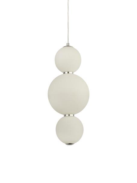 Kleine LED-Pendelleuchte Snowball aus Glas, Lampenschirm: Opalglas, Gestell: Metall, verchromt, Baldachin: Metall, verchromt, Opalweiss, Chrom, Ø 18 cm x H 43 cm