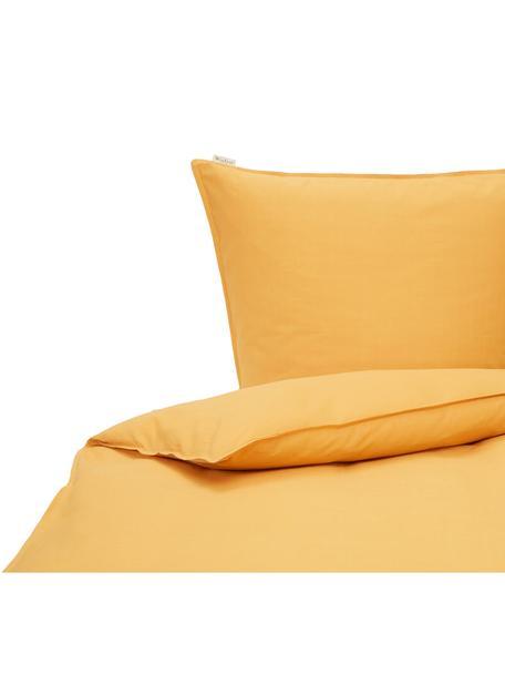 Baumwoll-Bettwäsche Soft mit feinem Struktur-Print, Webart: Renforcé Renforcé besteht, Ockergelb, 135 x 200 cm + 1 Kissen 80 x 80 cm