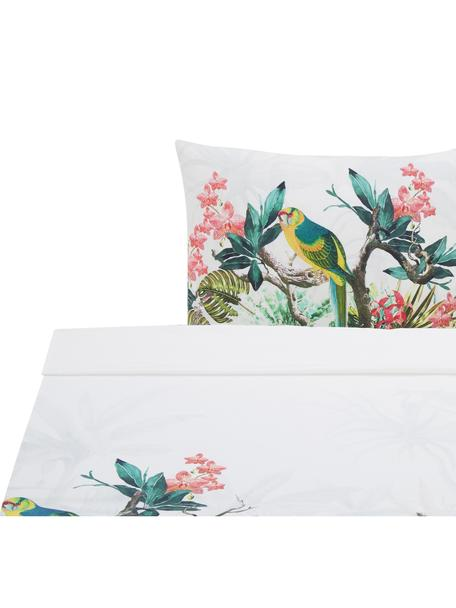 Sábana encimera Tropic, Algodón, Blanco, multicolor, Cama 90 cm (160 x 270 cm)