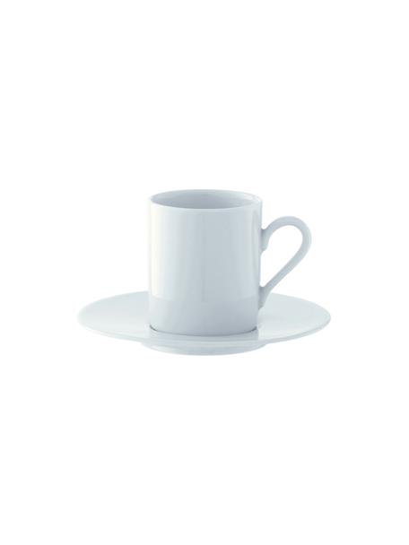 Espressotassen mit Untertassen Bianco aus Porzellan, 4 Stück, Porzellan, Weiß, Ø 12 x H 7 cm