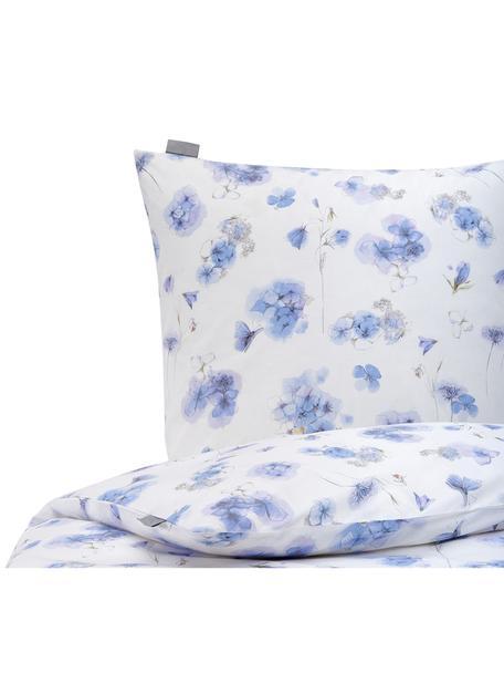 Pościel z bawełny Hydrangea, Biały, odcienie niebieskiego, 135 x 200 cm + 1 poduszka 80 x 80 cm
