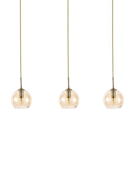 Lampada a sospensione ottonata Hamilton, Paralume: vetro, Struttura: metallo spazzolato, Baldacchino: metallo spazzolato, Ambra, Larg. 81 x Alt. 13 cm