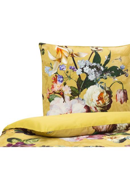 Katoenen dekbedovertrek Fleur, Goudgeel, 140 x 220 cm