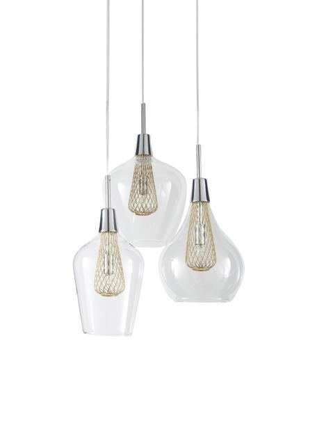 Lámpara de techo Filo, Anclaje: metal cromado, Cable: plástico, Transparente, latón, Ø 36 cm