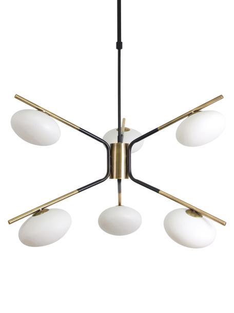 Duża lampa wisząca Guna, Czarny, matowy  Stelaż lampy: odcienie mosiądzu, matowy, Ø 70 cm