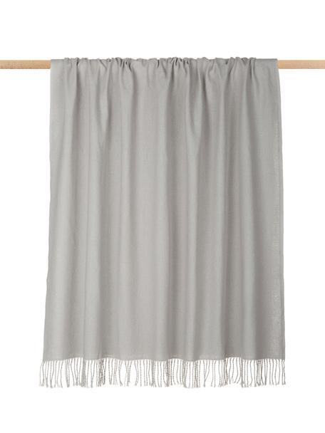 Manta con flecos Madison, 100%algodón, Gris claro, An 140 x L 170 cm