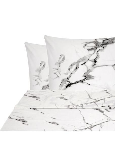 Set lenzuola in percalle Malin, Tessuto: percalle Densità del filo, Fronte: modello in marmo, rosa Retro: rosa, monocolore, 240 x 300 cm