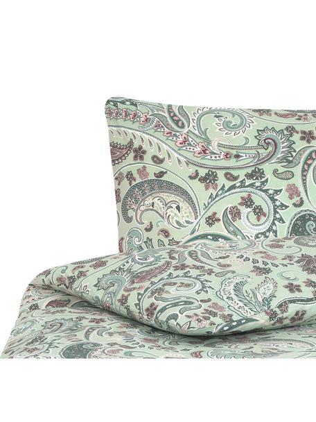 Baumwoll-Bettwäsche Liana in Grün mit Paisley-Muster, Webart: Renforcé Fadendichte 144 , Grün, Mehrfarbig, 135 x 200 cm + 1 Kissen 80 x 80 cm