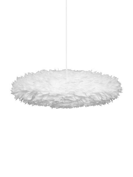 Hanglamp Eos Esther van veren, Lampenkap: ganzenveren, textiel, Wit, Ø 60 x H 16 cm