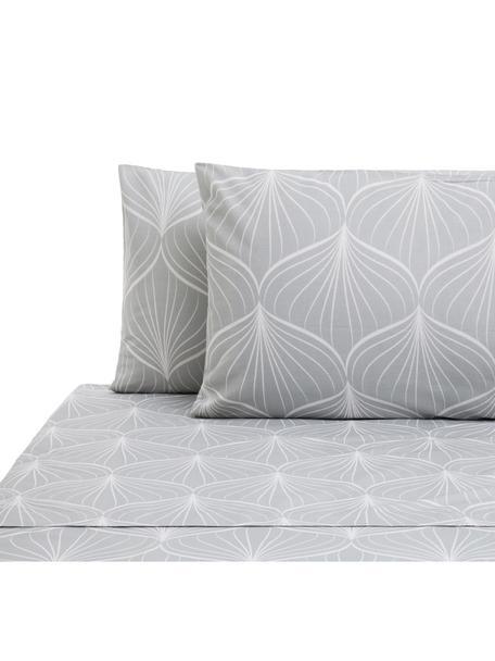 Set lenzuola in cotone Rama, Cotone, Grigio, bianco, 240 x 270 cm