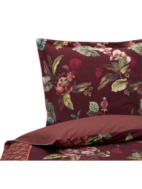 Baumwoll-Wendebettwäsche Poppy Stich mit unterschiedlichem Blumenmuster, Webart: Perkal Fadendichte 200 TC, Weinrot, Mehrfarbig, 155 x 220 cm + 1 Kissen 80 x 80 cm