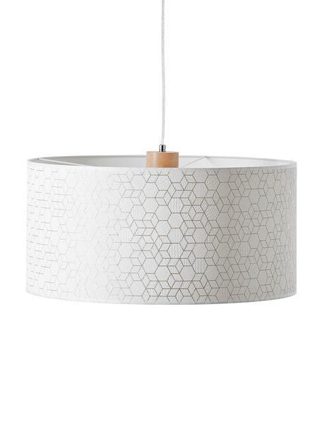 Lampada a sospensione Galance, Paralume: tessuto, Baldacchino: legno, Bianco, argentato, legno, Ø 50 x Alt. 118 cm