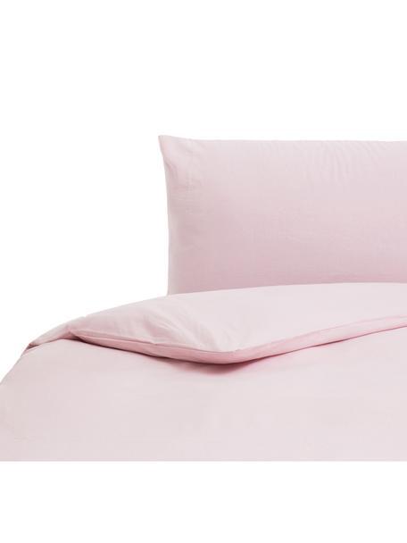 Parure copripiumino in cotone effetto stone washed Velle, Tessuto: cotone ranforce, Fronte e retro: rosa chiaro, 155 x 200 cm