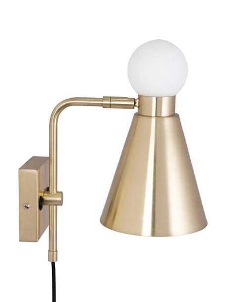 Wandleuchte Ludo mit Stecker und leuchtendem Glasdekor, Lampenschirm: Metall, Messingfarben, gebürstet, Weiß, 15 x 31 cm
