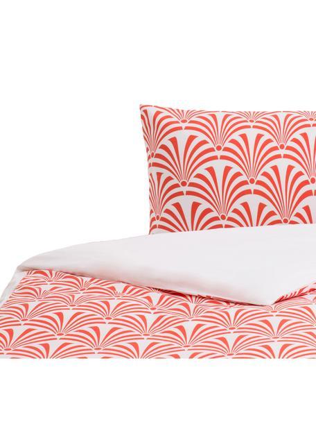 Parure copripiumino in cotone Crone, Cotone, Fronte: rosso salmone, bianco Retro: bianco, 155 x 200 cm