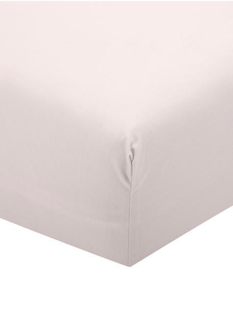 Prześcieradło z gumką z perkalu Elsie, Blady różowy, S 90 x D 200 cm