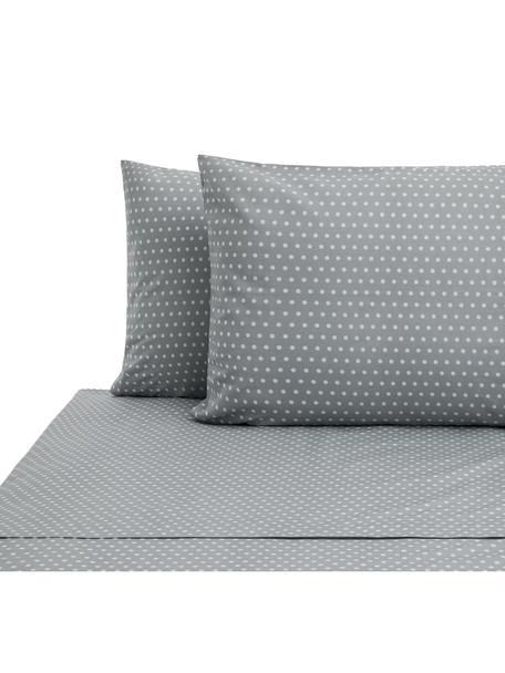 Set lenzuola in cotone Perun, Cotone, Grigio, bianco, 240 x 270 cm