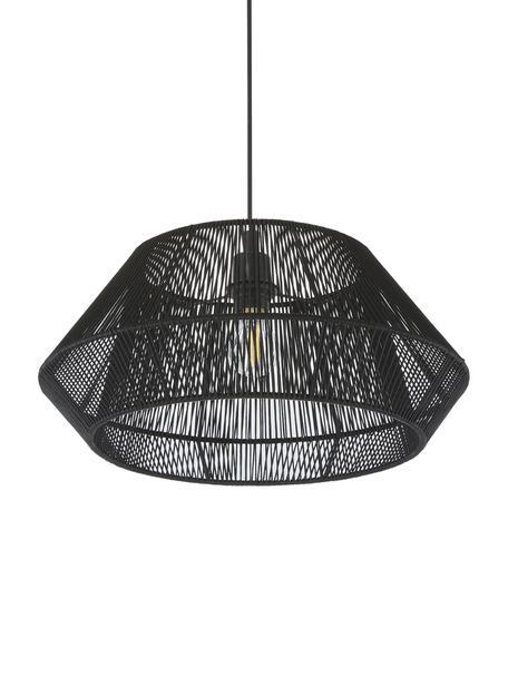 Lámpara de techo Hadi, Pantalla: tela, Anclaje: metal con pintura en polv, Estructura: metal, con pintura en pol, Cable: plástico, Negro, Ø 48 x Al 22 cm