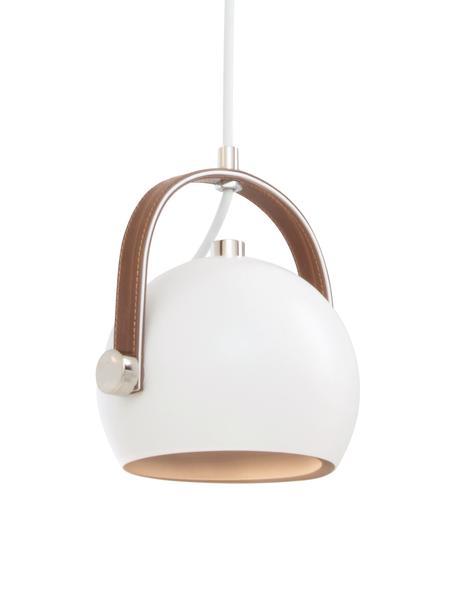 Kleine Pendelleuchte Bow mit Leder-Dekor, Lampenschirm: Metall, lackiert, Dekor: Kunstleder, Baldachin: Kunststoff, Weiss, 19 x 20 cm