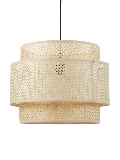 Design Pendelleuchte Finja aus Bambus, Lampenschirm: Bambus, Baldachin: Metall, pulverbeschichtet, Beige, Ø 50 cm x H 40 cm