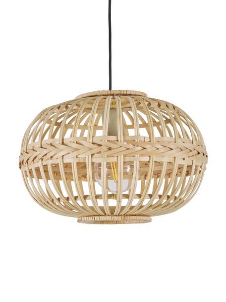Pendelleuchte Becca aus Bambus, Baldachin: Metall, pulverbeschichtet, Lampenschirm: Bambus, Sperrholz, Beige, Ø 38 x H 27 cm