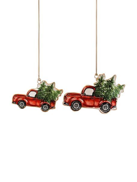 Baumanhänger-Set Cars, 2-tlg., Metall, Rot, Grün, Set mit verschiedenen Grössen
