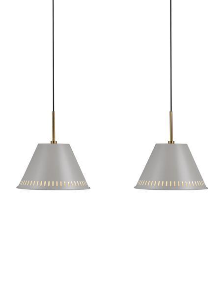 Retro-Pendelleuchte Pine, Lampenschirm: Metall, beschichtet, Dekor: Metall, beschichtet, Grau, Messingfarben, 60 x 31 cm