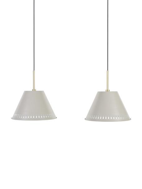 Retro hanglamp Pine, Lampenkap: gecoat metaal, Decoratie: gecoat metaal, Grijs, messingkleurig, 60 x 31 cm