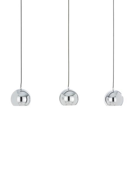 Lampada a sospensione a sfere in argento Ball, Baldacchino: metallo verniciato, Paralume: metallo cromato, Cromo luccicante, nero opaco, Larg. 100 x Alt. 18 cm