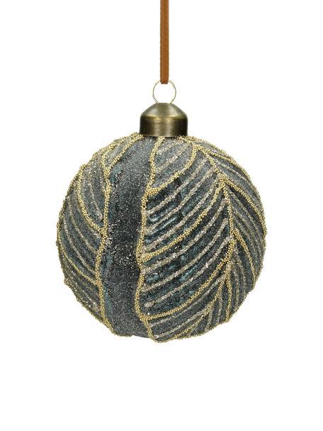 Bolas de Navidad Leaf, Ø8cm, 2uds., Vidrio, poliéster, plástico, Gris azulado, Ø 8 cm