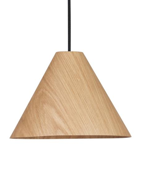Mała lampa wisząca z drewna Wera, Drewno naturalne, czarny, Ø 25 cm x W 17 cm