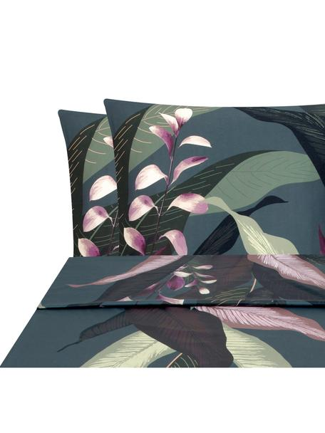 Sábana encimera de satén Flora, Parte superior: multicolor, Cama 150/160 cm (240 x 270 cm)