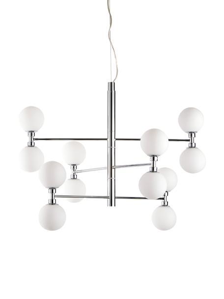 Grote hanglamp Grover met glazen bollen, Baldakijn: verchroomd metaal, Chroomkleurig, Ø 70  x H 56 cm