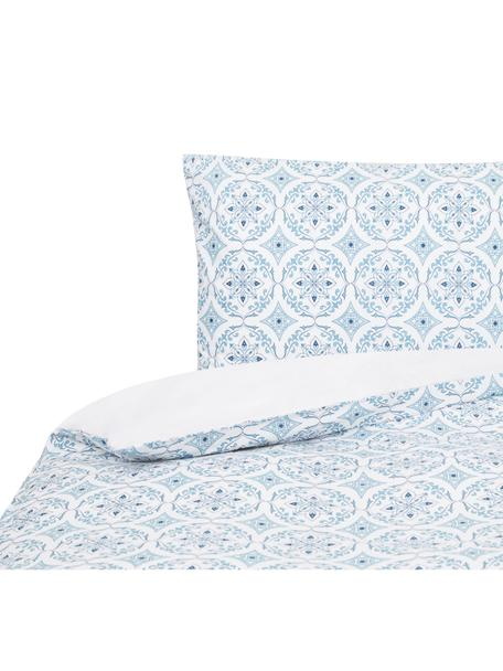 Funda nórdica doble cara Crackle , Algodón, Blanco, azul, Cama 90 cm (160 x 220 cm)