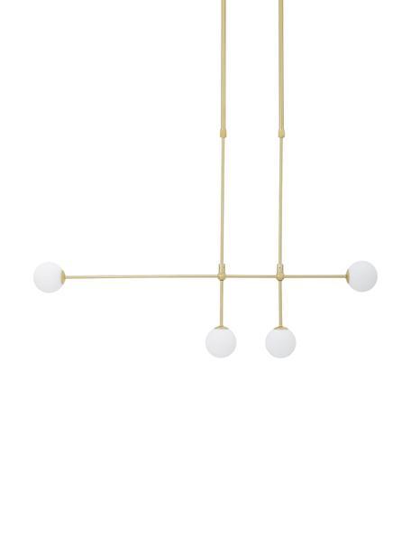 Lámpara de techo grande de diseño Moon, Anclaje: metal latón, Cable: plástico, Latón cepillado, blanco, An 112 x Al 90 cm
