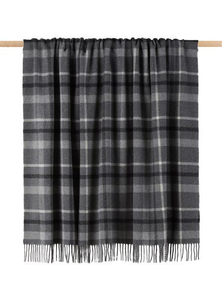 Plaid scozzese in lana vergine Square, 100% lana vergine, Grigio, grigio scuro, bianco latteo, Larg. 130 x Lung. 170 cm