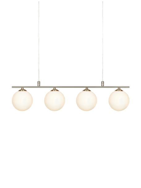 Lampa wisząca z kloszami ze szkła Quattro, Biały, opalowy, odcienie srebrnego, S 66 x W 17 cm