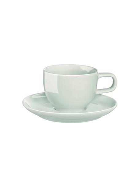 Porzellan-Espressotassen Kolibri mit Untertasse in Mintgrün glänzend, 6 Stück, Porzellan, Mintgrün, Ø 6 x H 12 cm