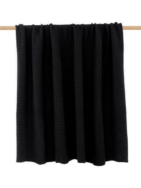 Manta de punto Aladyn, 100%algodón, Negro, An 150 x L 200 cm