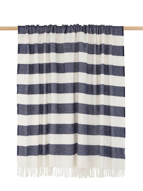 Manta Candy, 50%algodón, 50%acrílico, Azul marino, blanco crudo, An 140 x L 180 cm