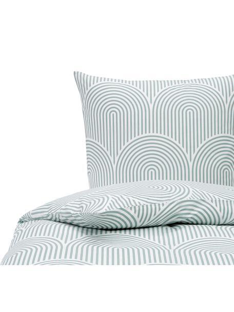 Pościel z bawełny Arcs, Zielony, biały, 135 x 200 cm + 1 poduszka 80 x 80 cm