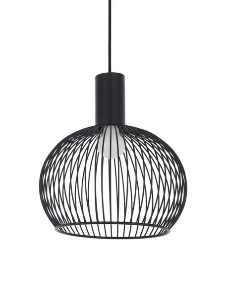 Lampada a sospensione di design Aver, Paralume: acciaio verniciato, Baldacchino: materiale sintetico, Nero, Ø 30 x Alt. 35 cm