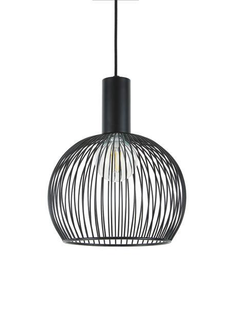Pendelleuchte Aver aus Metall, Lampenschirm: Stahl, lackiert, Baldachin: Kunststoff, Schwarz, Ø 30 x H 35 cm