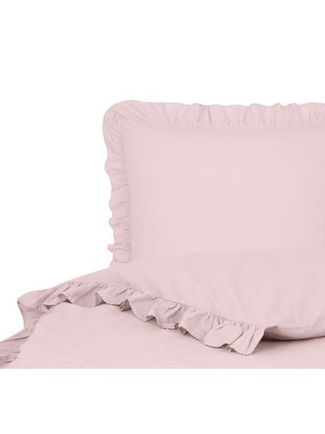 Gewassen katoenen dekbedovertrek Florence met franjes, Weeftechniek: perkal Draaddichtheid 180, Roze, 140 x 200 cm